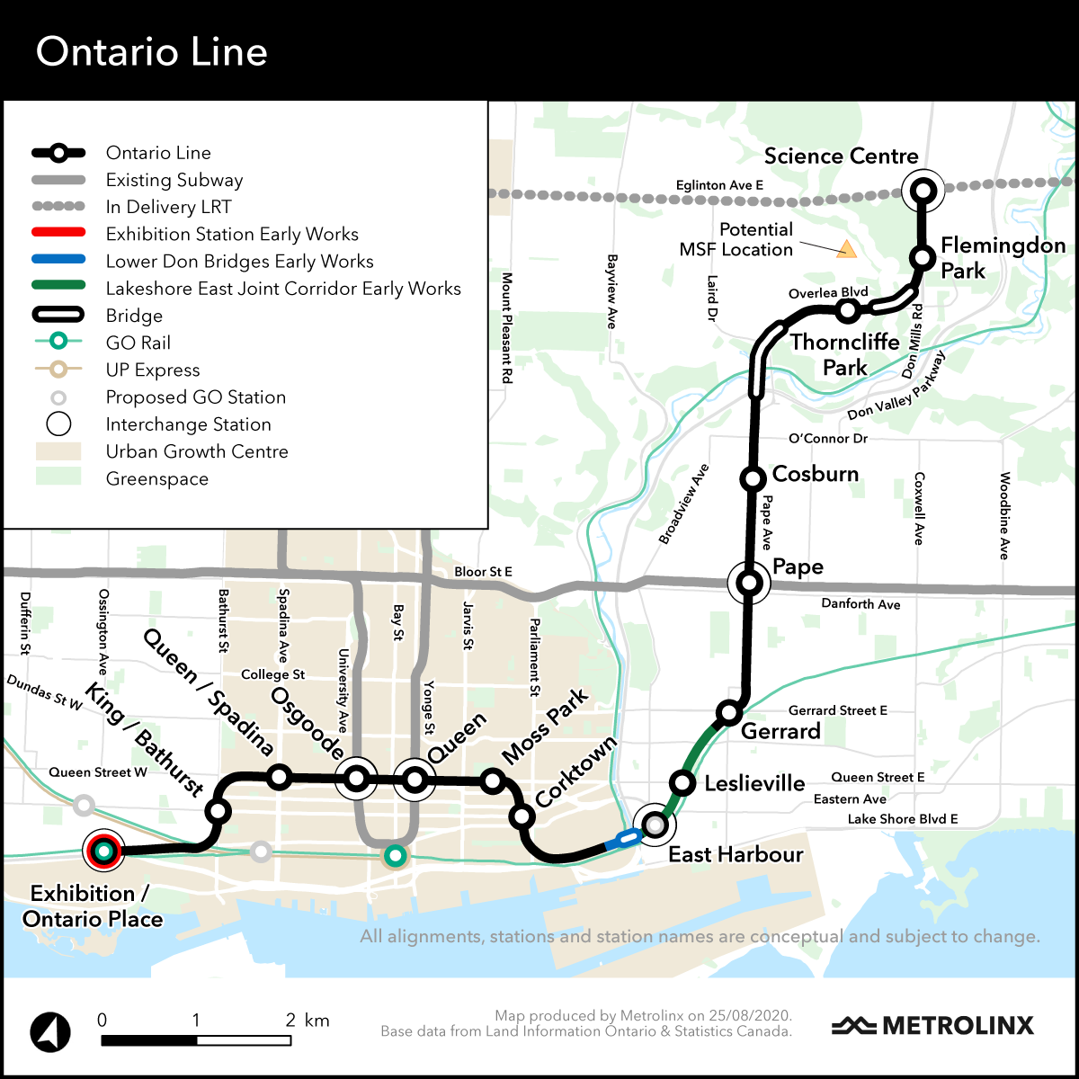 map of Ontario Line early works
