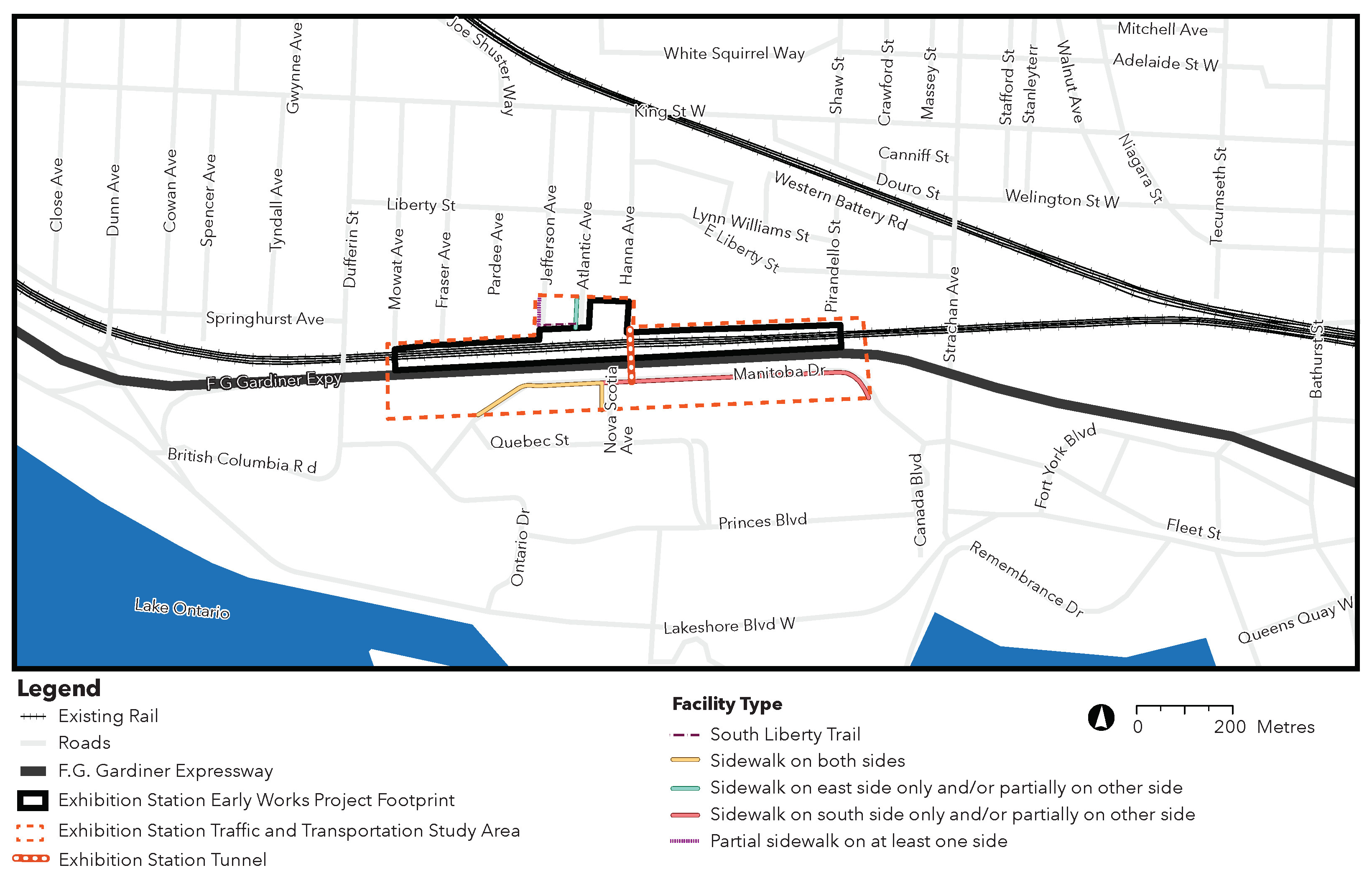 Map of existing pedestrian network within the Exhibition Station early works traffic and transportation study area