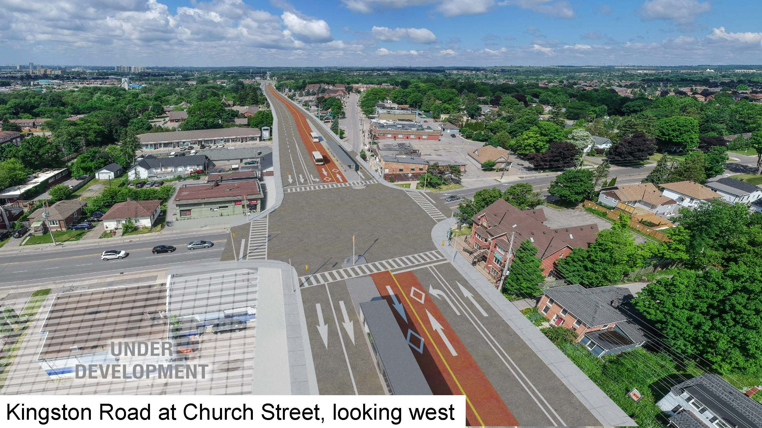 Rendering of Kingston Road at Church Street, looking west