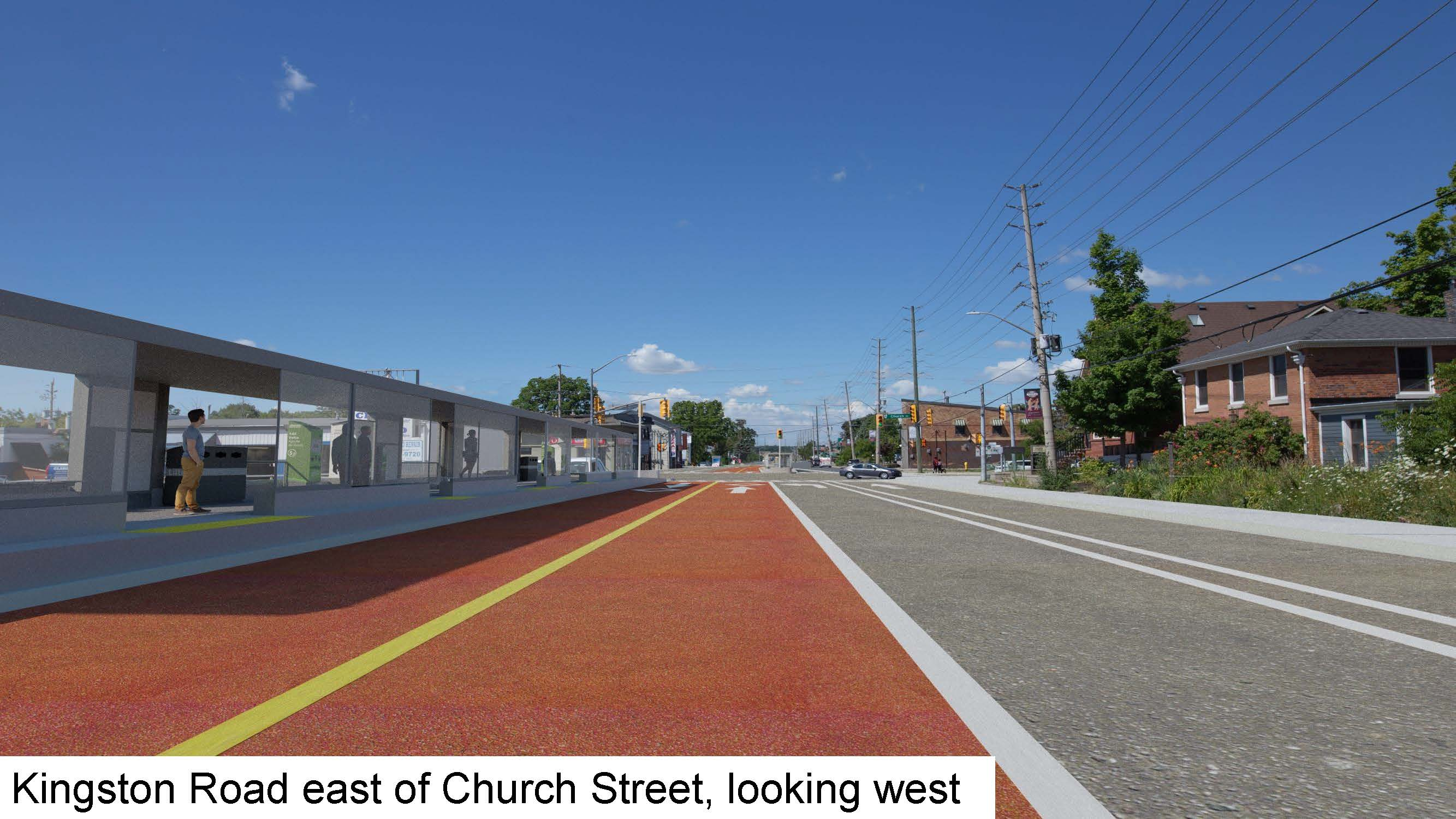 Rendering of Kingston Road east of Church Street, looking west