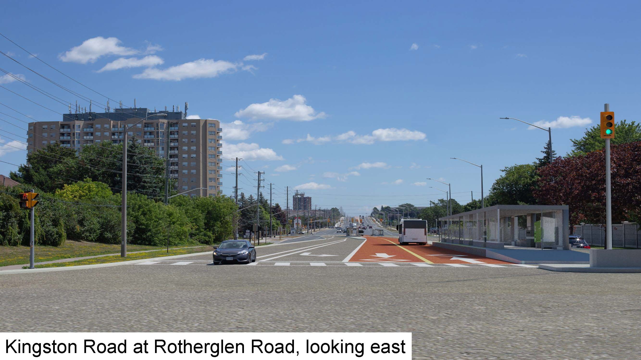 Rendering of Kingston Road at Rotherglen Road, looking east