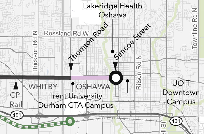 A map of the study area showing the extent of the Downtown Oshawa pinch point, from Thornton Road to Simcoe Street.