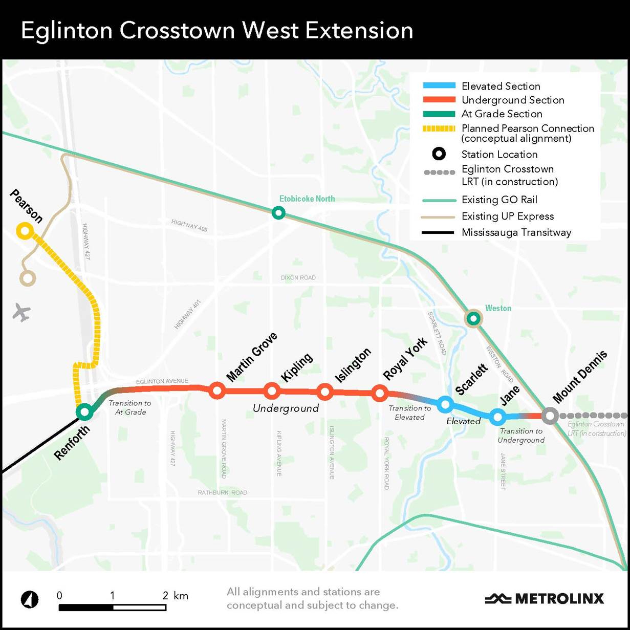 This map shows the current planned Eglinton Crosstown West Extension subway line and approximate locations of the proposed stations. All alignments/stations are conceptual and subject to change. This new subway line is proposed to include elevated and underground sections. Based on the conceptual alignment, the two terminus stations would be at Mount Dennis (interchange with a future GO station) in the east and Renforth in the west. Going from east to west, the map shows the subway line travelling underground after Mount Dennis Station (near Black Creek Drive), transitioning west of Weston Road from an underground to an elevated section. The elevated section will allow the line to pass over the Humber River, which is shown on the map. Proposed elevated stations are shown at Jane Street and Scarlett Road. The line transitions from elevated back to underground, approximately half-way between Scarlett and Royal York Roads. The line continues west underneath Eglinton Avenue, with proposed stations at Royal York Road, Islington Avenue, Kipling Avenue, and Martin Grove Road. It will end at a partially-underground station near Renforth Avenue. The map also shows a Planned Pearson Connection conceptual alignment, which would travel north from Renforth Station up to a proposed station near Pearson International Airport. It is shown to be in a different location than the current UP Express Station at Pearson Airport Terminal 1. For reference purposes, the map also shows major highways, main streets and natural landmarks (rivers, valleys) in the background, as well as the existing GO and UP Express rail lines and stations, the existing Mississauga Transitway (which will connect to Renforth Station), and the future Eglinton Crosstown Light Rail Transit which is currently under construction. For further details, please visit the following Metrolinx webpage: http://www.metrolinx.com/en/greaterregion/projects/eglinton-crosstown-west.aspx