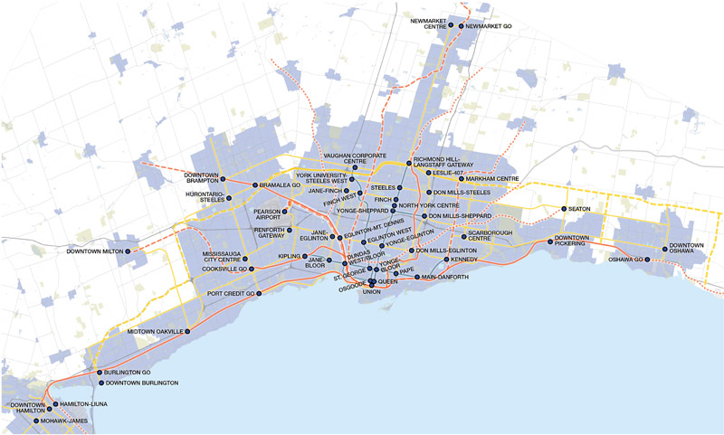 A GTHA map outlining mobility hubs