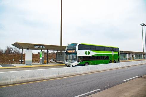 Double-decker GO bus at Erin Mills Transitway BRT Station.