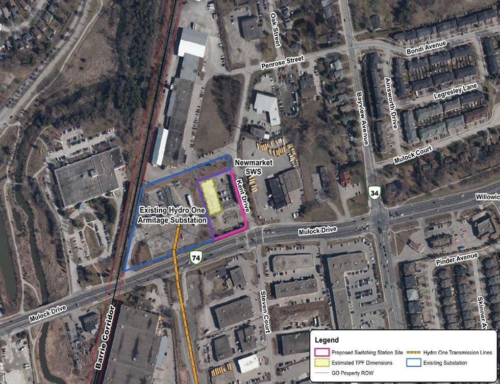 Map of Newmarket switching station site