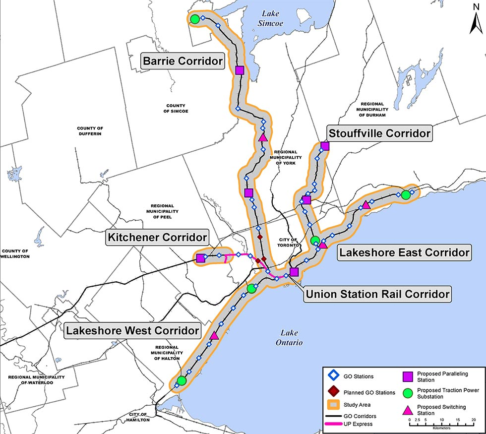 Map of Electrified GO-owned rail corridors