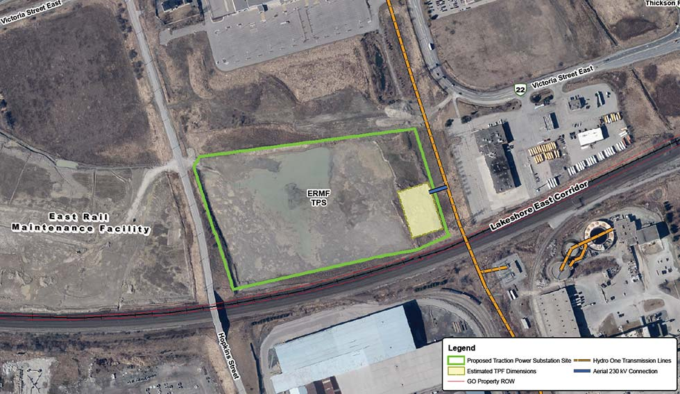 Map of East Rail Maintenance Facility Traction Power Substation Site
