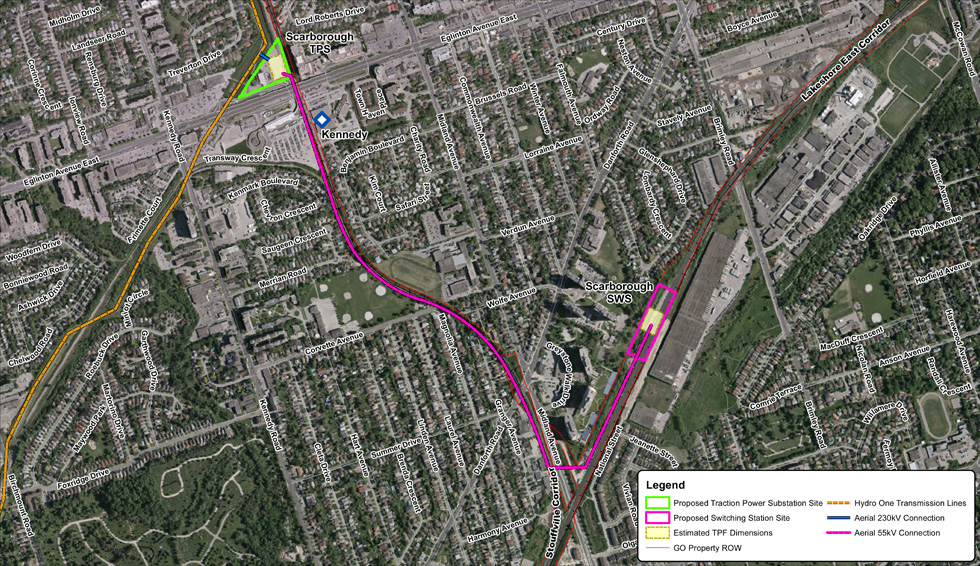 Map of Scarborough Traction Power Substation and Scarborough Switching Station Site