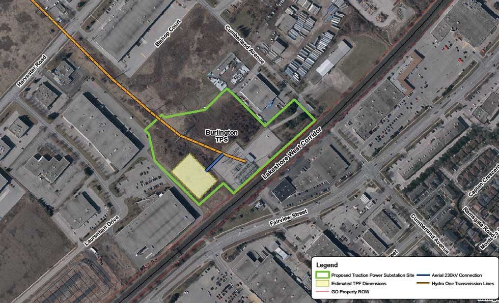 Map of Burlington traction power substation site