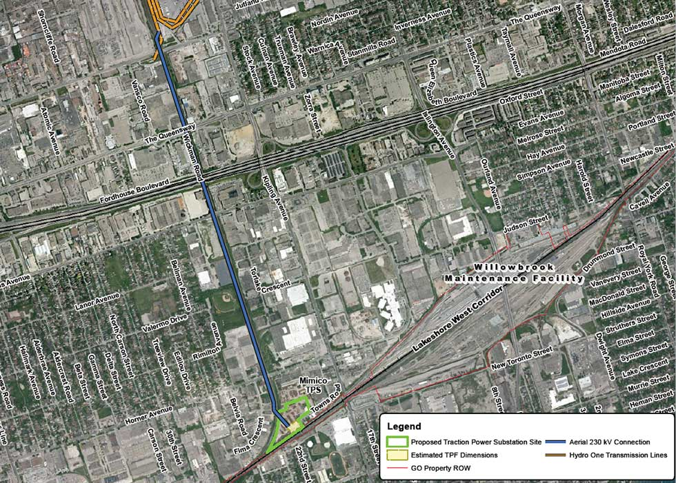 Map of Mimico Traction Power Substation Site