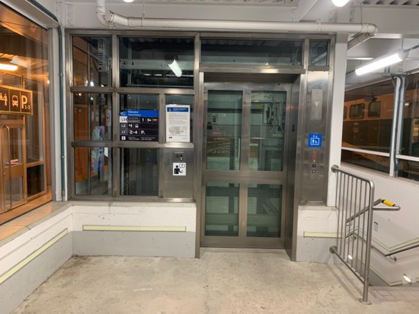 Photo of elevator at Oakville GO Station.