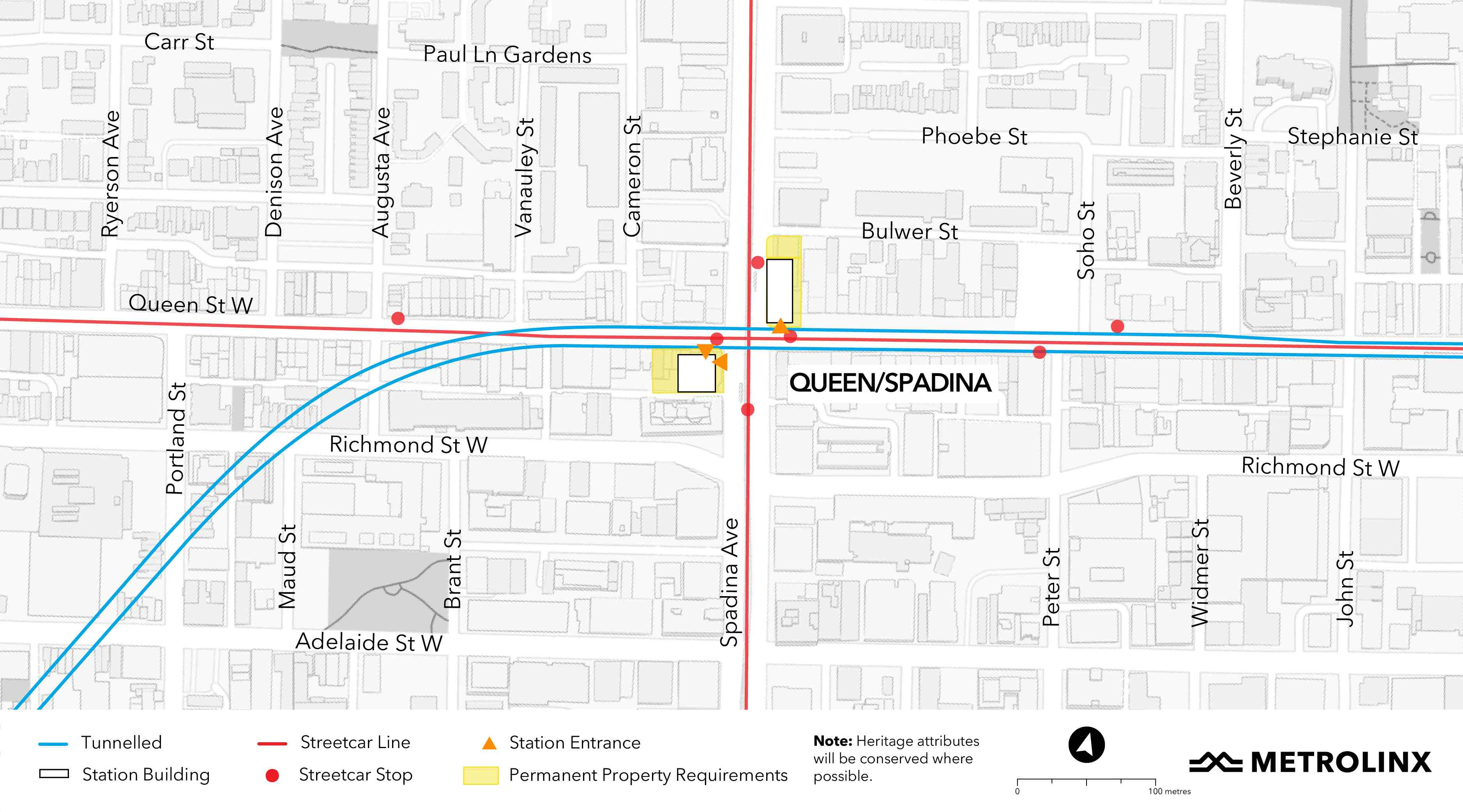 portion of the map containing Queen/Spadina