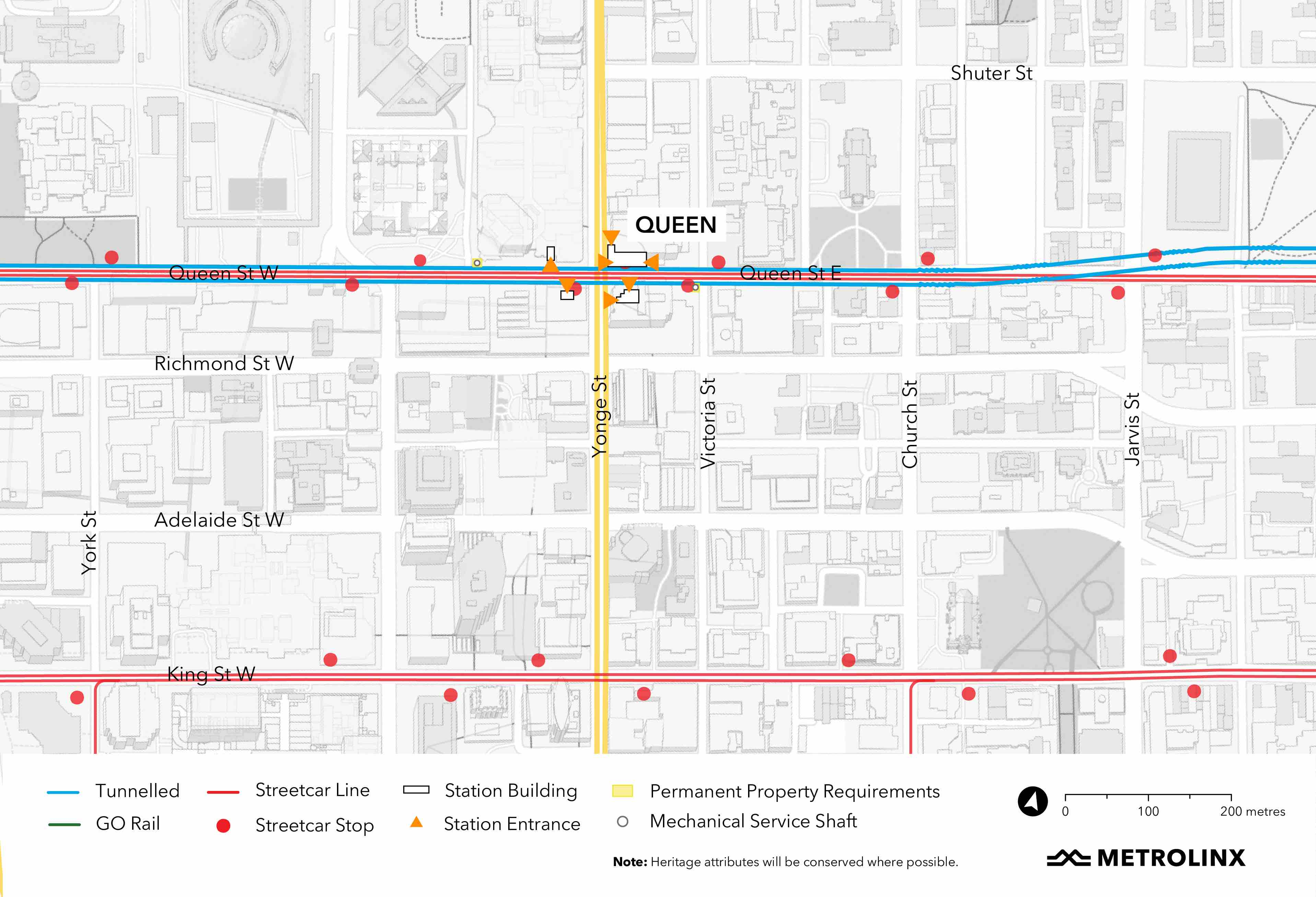 map containing queen station