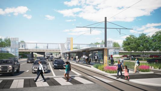 Rendering of Cooksville LRT station