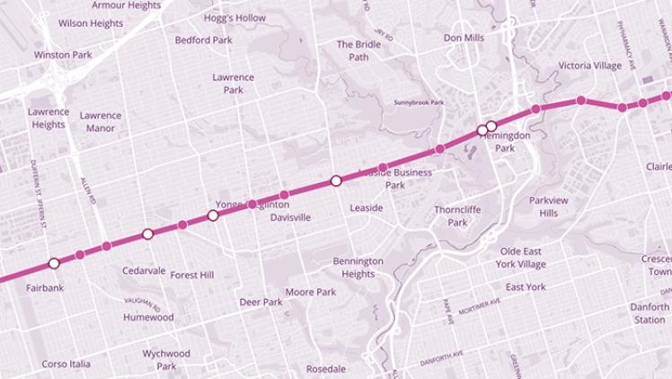 Map of Eglinton Crosstown