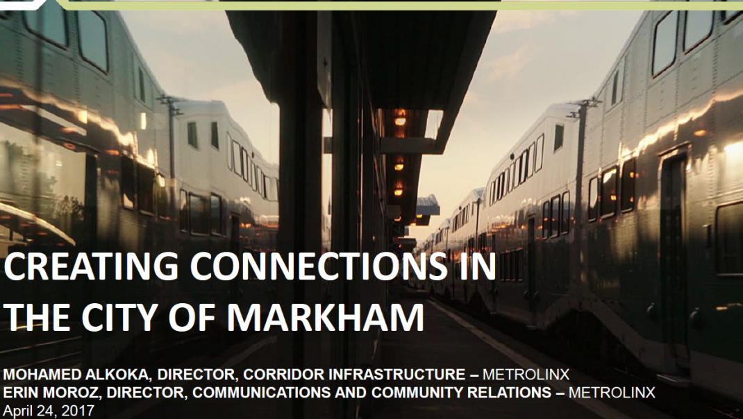 Creating Connections in the City of Markham presentation cover
