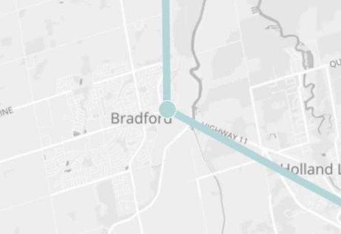 Image of map of Transit line in Bradford Ontario