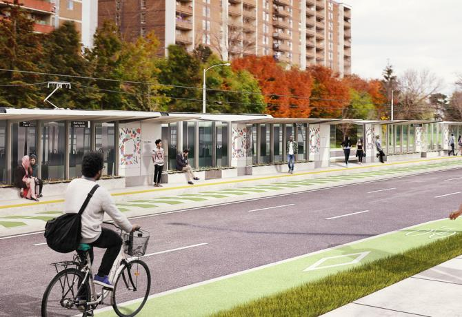 rendering of a station on Finch West LRT