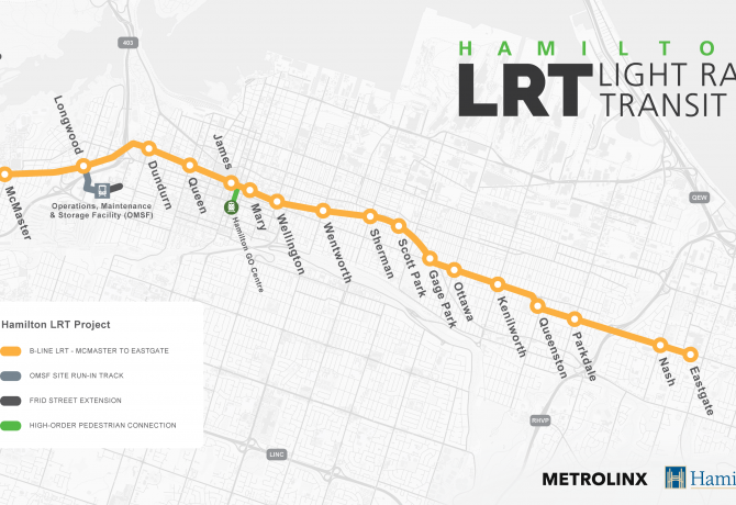 Hamilton LRT Route Map