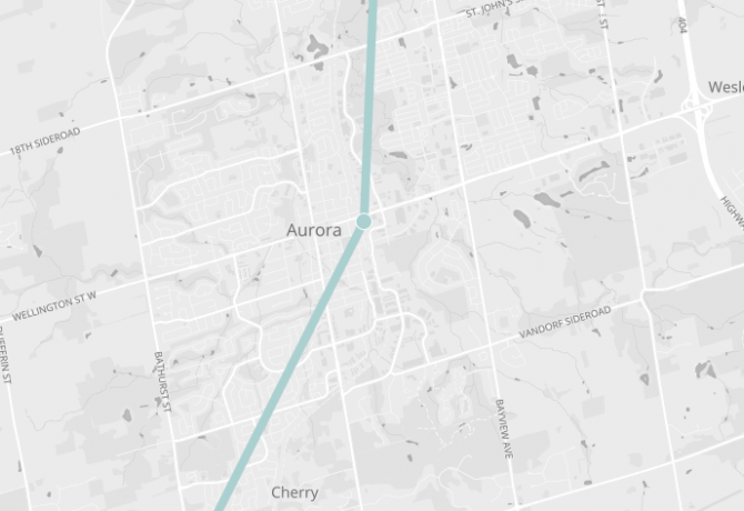 Map of Aurora, showing Barrie Go line