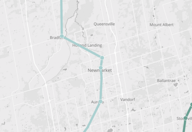 Map of King City, showing Barrie Go line