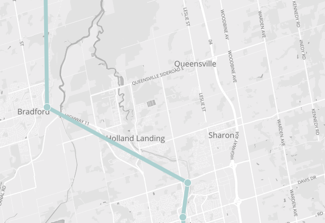 Map of East Gwillimbury, showing Barrie Go line