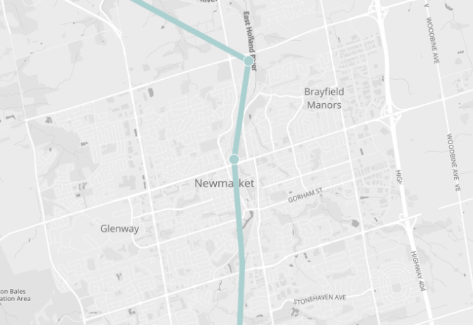 Map of Newmarket, showing Barrie Go line