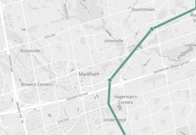 Map of Markham, showing Stouffville Go line