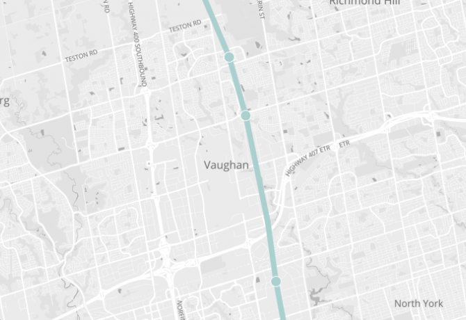 Map showing the location of the City of Vaughan