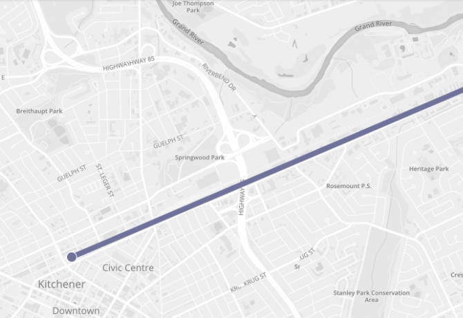 Map of GO rail line from Breslau to Kitchener