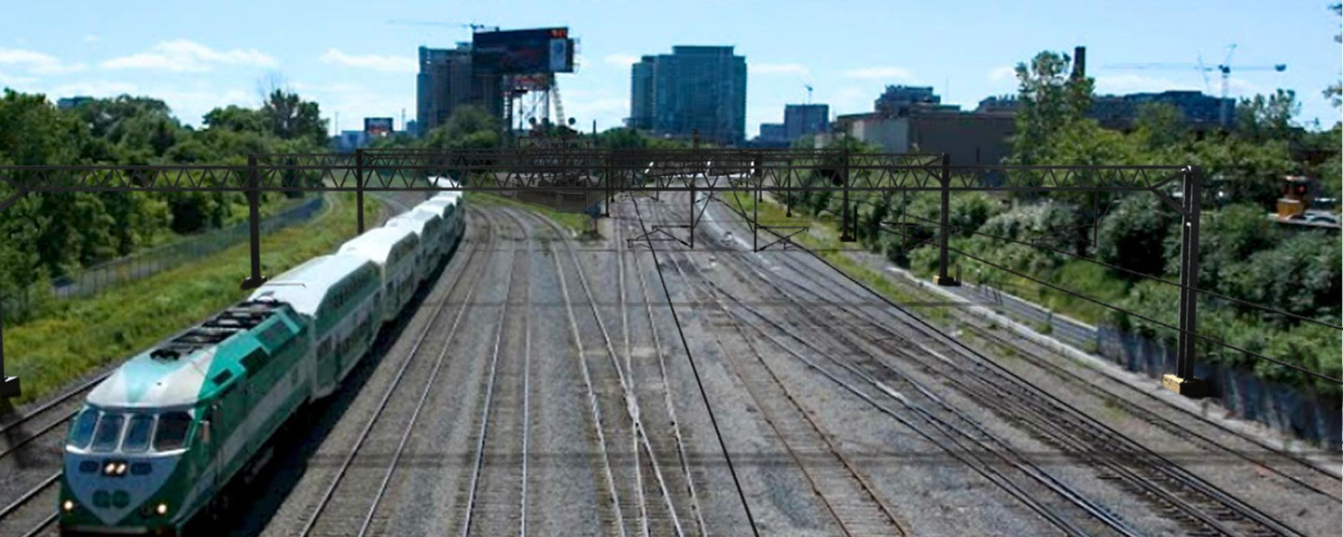 Rail corridor with a conventionally powered train