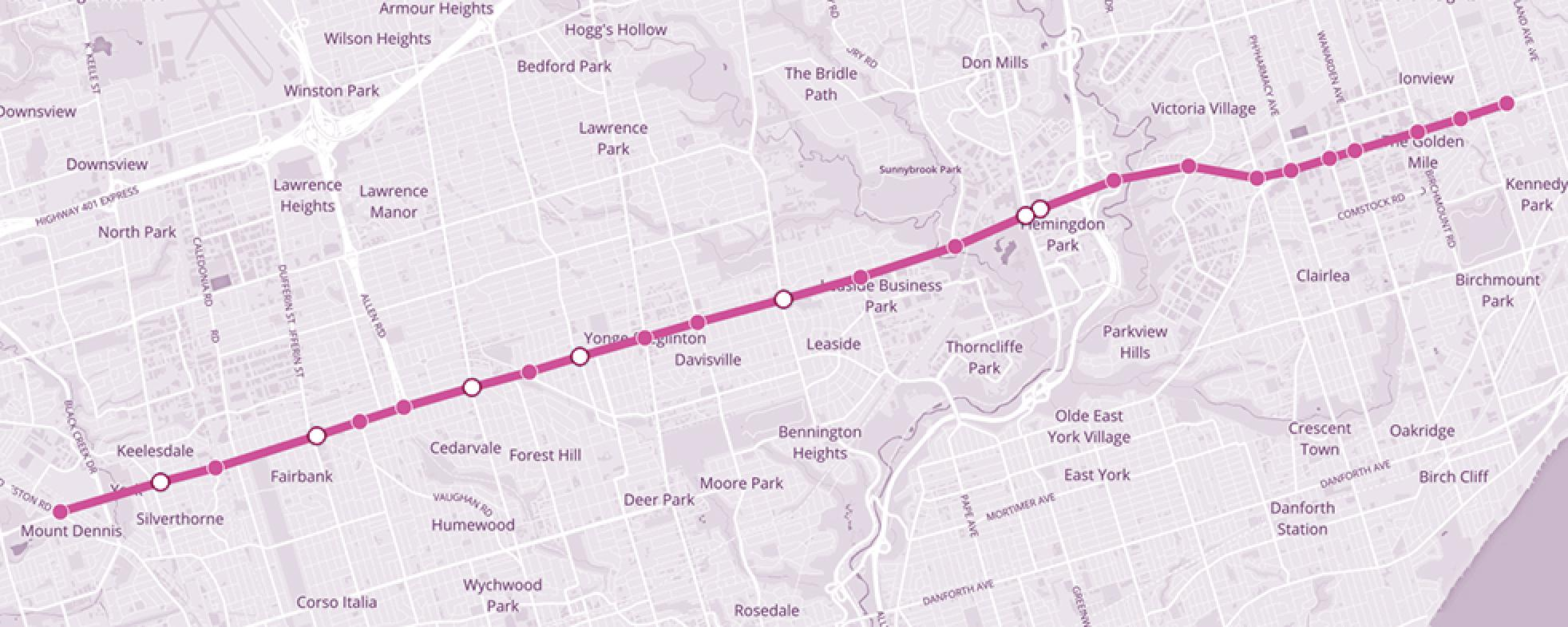 Eglinton Crosstown Map Eglinton Crosstown Line Station and Stop Names | Metrolinx Engage