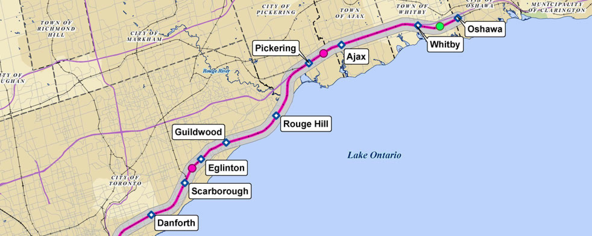 Map of Lakeshore East Corridor