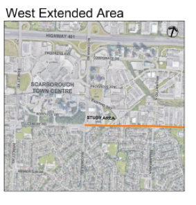 Map of the West End of the corridor at Scarborough Centre